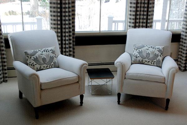 New Hampshire Interior Designers - Tailored Linen Chairs - Interior Design