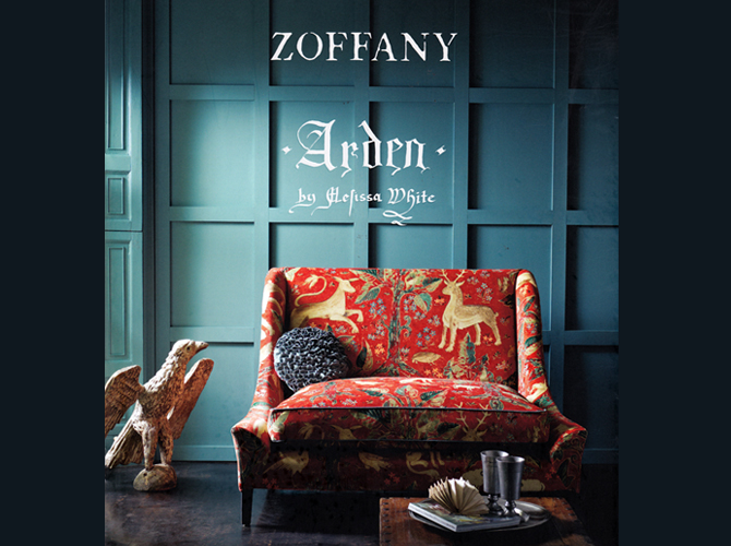 Zoffany Fabric Arden Collection by Melissa White catalog cover featuring setee covered in Arden fabric
