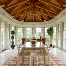 3-Season Dining Room—Custom Windows, Rug, & Dining Table
